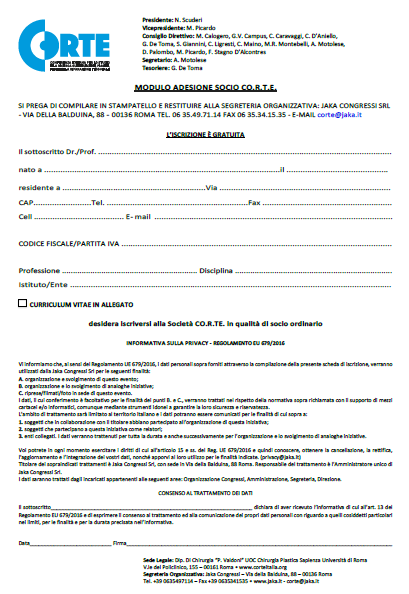 Modulo di adesione CORTE Italia